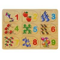 Puzzle din lemn - Numere - Activitati pentru copii (3+) (Model 2)