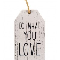 Agatatoare din lemn decorativa, alb-gri - Do what you love (6.5x11cm)