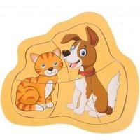 Puzzle din lemn - Pisica si Caine - Activitati pentru copii (3+)