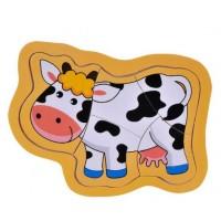 Puzzle din lemn - Vaca - Activitati pentru copii (3+)