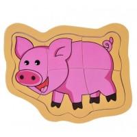 Puzzle din lemn - Porcusor- Activitati pentru copii (3+)