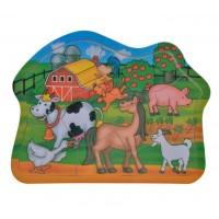 Puzzle din lemn - Animale ferma - 9 piese - Activitati pentru copii (3+)