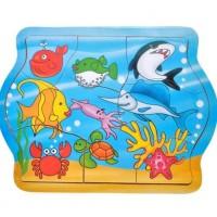 Puzzle din lemn - Animale acvatice - 9 piese - Activitati pentru copii (3+)