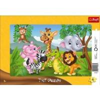 Puzzle, 7 Animale din jungla, 15 piese, Trefl - Activitati pentru copii (3+)