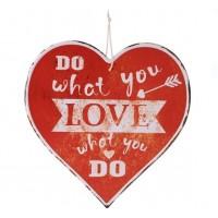 Agatatoare din metal decorativa, rosie, in forma de inima - Do what you love (30x30cm)