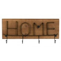 Cuier din lemn, maro, 4 agatatori - HOME (49x17cm)