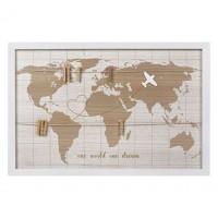 Rama foto din lemn, alb - One world one dream - 8 poze (60x40cm)