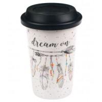 Cana cu capac negru de silicon - Dream on - 400 ml