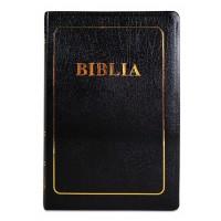 Biblia foarte mare, coperta piele, scris foarte mare, neagra, margini aurii, index, trad. Cornilescu, cuvintele lui Isus cu rosu