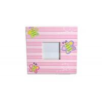 Rama foto copii patrata roz cu fluturi(10x10 cm)