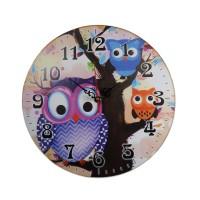 Ceas  cu trei bufnite  ( 20x20cm)