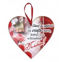 Tablou motivational ceramica inima (20x19cm) - Cand ai aparut