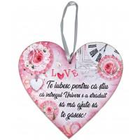 Tablou motivational ceramica inima (20x19cm) - Love