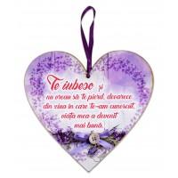 Tablou motivational inima (20x19cm) - Te iubesc