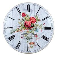 Ceas de perete rotund  cu flori -  30x30 cm