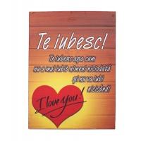 Tablou motivational textil (15x20x2cm) - Te iubesc