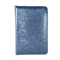 Szent Biblia - Mini Biblia, Metál Kék, Cipzáros, Virágmintás, Károli Gáspár Forditása (Biblia mica in lb. maghiara, floral, fermoar)