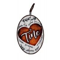 Tablou motivational ceramica oval (13.5x18cm) - Te vreau pe tine
