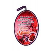 Tablou motivational ceramica oval (13.5x18cm) - Te iubesc mama