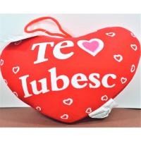 Agatatoare decorativa in forma de inima, rosie - Te Iubesc (14x10cm)