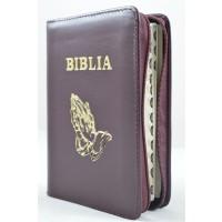 Biblia format mic, din piele, culoare visiniu, index, fermoar, margini argintii,simbolul maini in ruga, cuv. lui Isus in rosu [047 PFI]