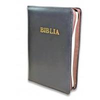 Biblia din piele, marime medie, maro inchis, fermoar, cuv. lui Isus cu rosu [053]