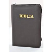 Biblia format mic, din piele, culoare maro inchis, index, fermoar, margini argintii, cuv. lui Isus in rosu [047 PFI]