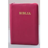 Biblia din piele, marime medie, roz inchis, fermoar, cuv. lui Isus cu rosu [053]