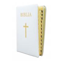 Biblia pentru amvon, foarte mare, piele, alba, aurita, index, materiale ajutatoare, cu cruce [093 PI]
