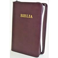 Biblia din piele, marime medie, bordo inchis, fermoar, cuv. lui Isus cu rosu [053]