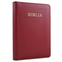 Biblie din piele, marime medie,rosu, fermoar, index, margini aurii, cuv. lui Isus cu rosu [SB 057 PFI]