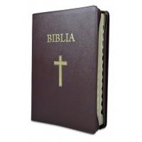 Biblia marime mare, piele, visinie, index lateral, aurita, fermoar, cu cruce [073 PFI]