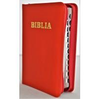 Biblia format mic, din piele, culoare rosie, index, fermoar, margini argintii, cuv. lui Isus in rosu [047 PFI]
