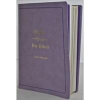 Biblia bilingva romana - germana, mare, piele ecologica, lila, aurita