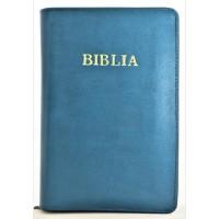 Biblie din piele, marime medie,albastru mineral, fermoar, index, margini aurii, cuv. lui Isus cu rosu [SB 057 PFI]