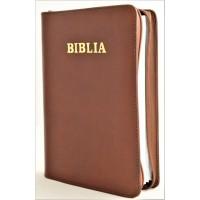 Biblia din piele, marime medie, maro - roscat, fermoar, cuv. lui Isus cu rosu [053]