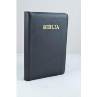 Biblie din piele, marime medie, neagra, fermoar, index, margini aurii, cuv. lui Isus cu rosu [SB 057 PFI]