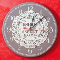Ceas de perete rotund  gri inchis ( 30x30x3cm) -  Home sweet home