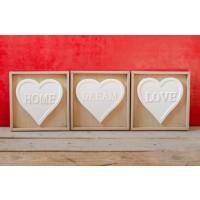 Tablou decor 3 buc (19x19cm) - Love