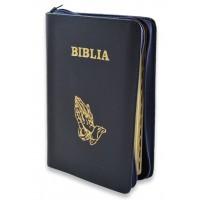 Biblie din piele, marime medie,bleumarin, fermoar, index,simbol maini in ruga margini aurii, cuv. lui Isus cu rosu [SB 057 PFI]
