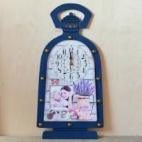 Ceas de perete lampa albastru (29.5x59x3.5cm)