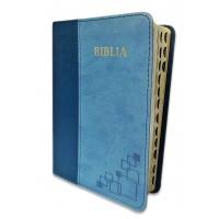 Biblie marime mica, piele ecologica, nuante de albastru, index, margini argintate, cuv. Isus rosu,cu index [SI 043 I]