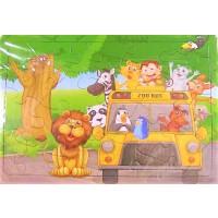 Puzzle, Animale din jungla, ZOO BUS, 24 piese - Activitati pentru copii (3+)