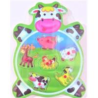 Puzzle din lemn - Animale domestice - Activitati pentru copii (3+)