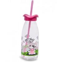 Sticla cu pai alb-roz - 500 ml
