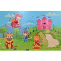 Puzzle din lemn - Castel, dragon... - Activitati pentru copii (3+)