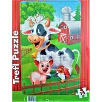 Puzzle - 3 animale de la Ferma, 15 piese, Trefl - Activitati pentru copii (3+)
