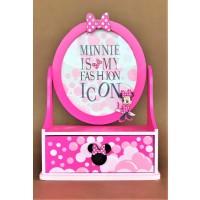 Rama foto din lemn, roz + cutie depoziatre - Minnie - 1 poza de 13x15cm