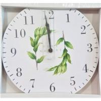 Ceas de perete rotund din lemn, alb-verde - Pure Nature (30cm)