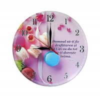 Ceas perete rotund cu mesaj crestin (30 cm) - Domnul să-ți fie desfătarea
